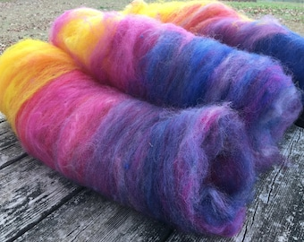 Wool batt for spinning - hand processed, indie dyed and hand blended in 'Sand Mountain Sunset' colorway