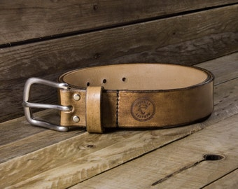 Handmade leather belt - Solid brass or stainless steel buckle, Hand dyes in a choice of 4 different colours - Handmade in the UK