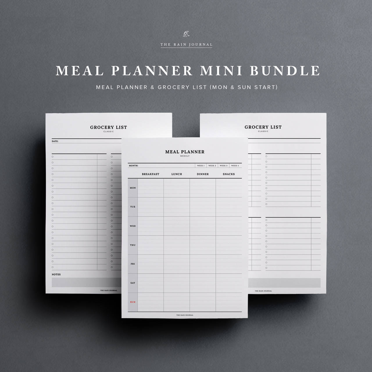 Meal Planner BUNDLE Weekly Meal Planner and Grocery List