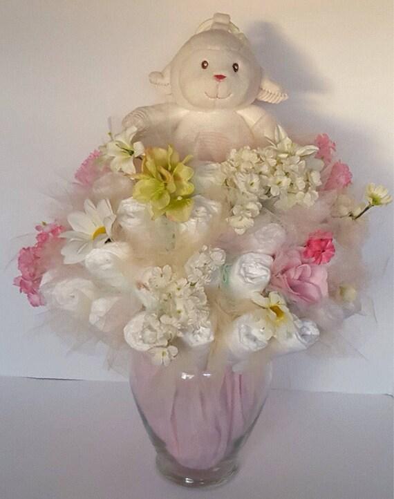 Lamb diaper bouquet baby lamb shower centerpiece baby