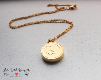Paw Print Cremation Urn Necklace | Personalized Cremation Jewelry | Gold Cremation Urn Jewelry |Dog, Cat | Pet Memorial Necklace | Cremains