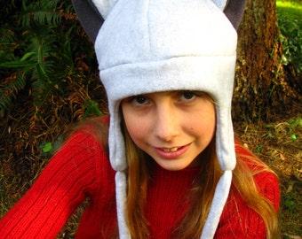 Animal Hat - Silver / Grey Fleece Kitty Cat Ear Flap Aviator Hat with ties