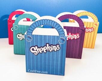 "5 - 6.75"" Printable Shopkins Shopping Bags - Shopkins Birthday Party"