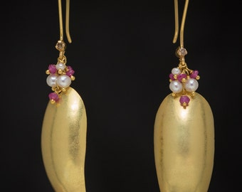 18K Solid Gold Dangle Earrings with Sapphire, Pearls, Diamond Accents