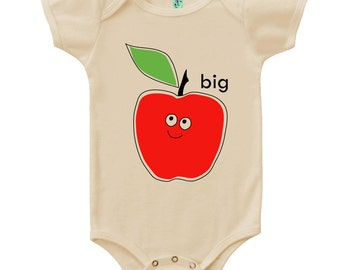 Organic cotton short sleeve baby onesie with screen printed Big Apple design by Bugged Out, made in the USA