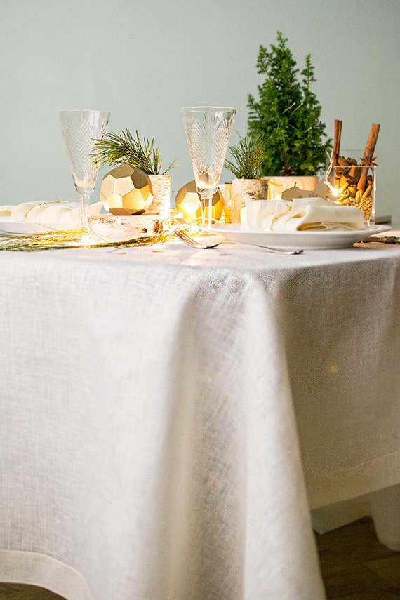 Gold Rectangle Tablecloth Sparkly Linen Custom Tablecloth
