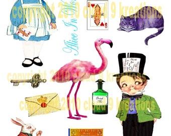 OOAK Alice and Wonderland Dolly Dingle Digital Collage Sheet
