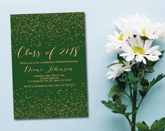 Green & Gold Class of 2018 Graduation Invitation Card/Graduation Announcement/Green and Gold High School Graduation Card/College Graduation