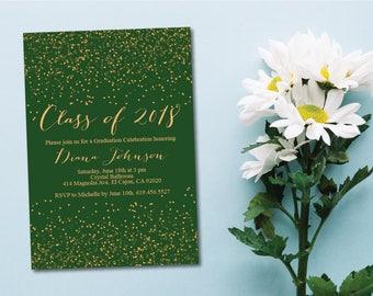 Green & Gold Class of 2018 Graduation Invitation Card/Graduation Announcement/Green and Gold High School Graduation Card/College Graduation