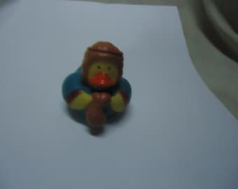 Vintage Small Rubber Duck Toy, Has Brown Hat On, collectable