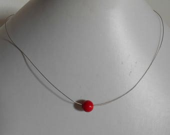 Red passion solitaire Pearl bridal necklace