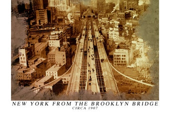 New York from the Tower of the Brooklyn Bridge circa 1907 - Vintage Art Print of the Brooklyn  Bridge - Brooklyn Bridge Print -New York City