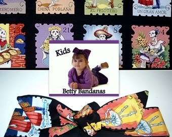 KIDS...Betty Bandana in Day of the Dead Skeletons in loteria-style cards....New Size & Style