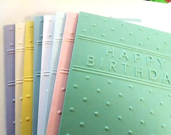 Set of 8 Hand Embossed Happy Birthday Cards in Eight Different Colors, Birthday Card Sets, Birthday Cards, Embossed Cards