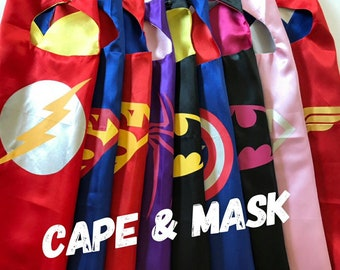 Superhero Cape and Mask Sets, Batman Cape, Superhero Cape, party favors, Birthday party  Ready to ship