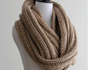 KNIT SCARF, knit infinity scarf, red scarf, camel scarf, chunky knit scarf, blanket scarves, knit circle scarf,  loop scarf, gift for her