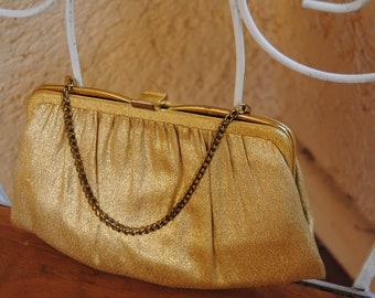 Vintage 1960's Metallic Gold Ande Evening Bag