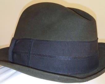 Men's Vintage Fedora Hat The Ridgewood by Mallory Stetson sz 7  1940's