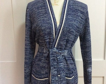 1970's Blue Tweedy Knit Belted Cardigan