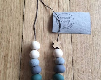 Polymer Clay Beads and Wood Necklace