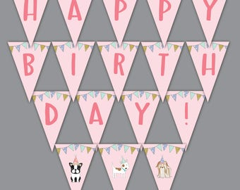 Puppy Dog Happy Birthday Pennant Banner, Printable, Adoption, Pet, Party Decoration, Decor, Sign, Instant Download, Doggy, Digital