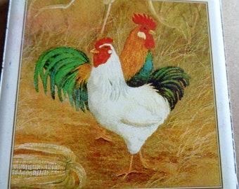 4 Chicken Rooster  Vintage  Focal Tiles for Mosaics