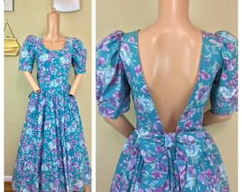 Vtg 80s does 50s Laura Ashley 100% Cotton Floral Tea Backless Bows Party Dress L