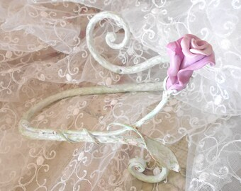 CURTAIN TIE BACKS, forged, metal, rose, polymer clay