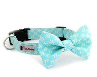 Turquoise Arrow Patterned Dog Collar (Teal Dog Collar Only - Matching Bow Tie Available Separately for Wedding & Special Occasion)