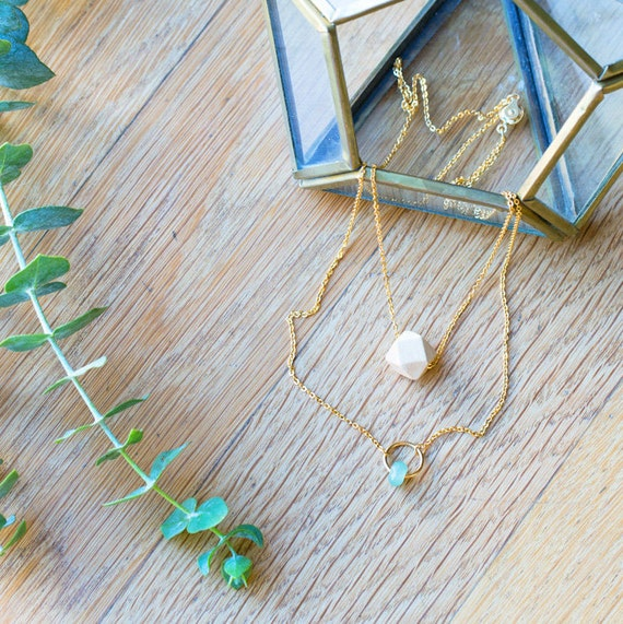 Layered Gemstone Circle Diffuser Necklace (Gold)