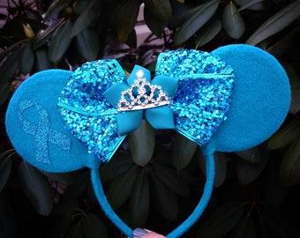 Cancer Awareness Ribbon Minnie Mouse Ears Headband Teal Yellow Peach Purple blue green pink