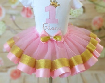 First birthday outfit, Gold and pink 1st. Birthday tutu set, Girls 1st birthday, Ribbon tutu, 1st. Birthday set, first birthday party.