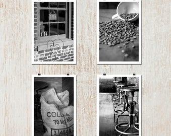 Set of 4: 8x10 - Cafe, Steampunk, Coffee Art, Brick, Rustic, Wall Art, Home Decor, Fine Art, Espresso, Black and White