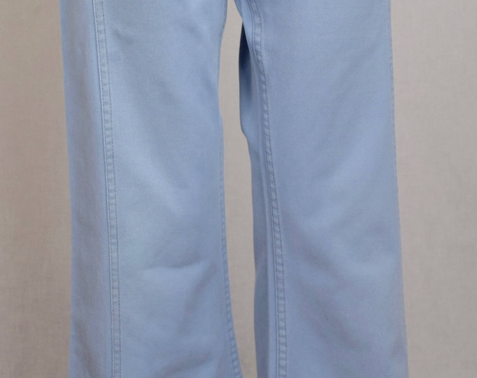 Vintage 1970's LEVI'S Light Blue Denim Inlaid Panel Bell Bottom HiPPiE Jeans Size 30 x 31
