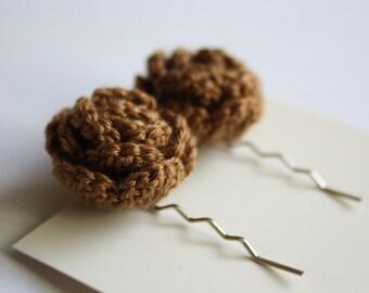 SALE Crochet Rose Hair Bobby Pins