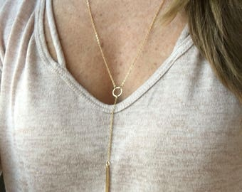 Gold lariat necklace // gold bar & circle // gifts for her // layering necklace// unique jewelry // handmade necklace// delicate jewelry