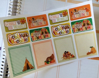 Thanksgiving Planner Stickers 8 Half Boxes 4 Full Boxes Fits Erin Condren Planner