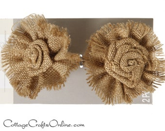 "Burlap Flower Natural,  3 1/2"" - PACK of SIX -  Jute Fabric Flower, Wedding or Wreath Embellishment Rustic Trim, Darice Craft"