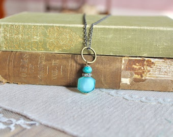 Simple turquoise blue glass bead necklace on bronze loop with rhinestone accents, Starry Night