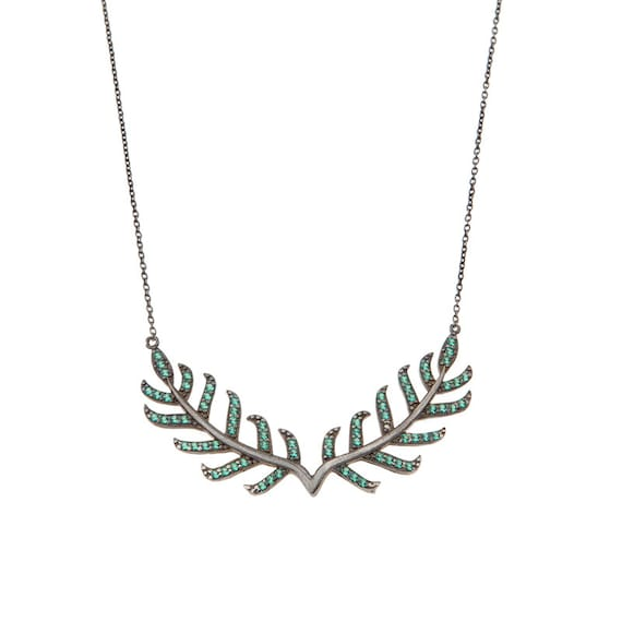 Silver Leaf Necklace Laurel Wreath Branch Necklace Leaf