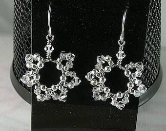 Birthday Flower Earrings - Wire Wrapped Swarovski Crystals