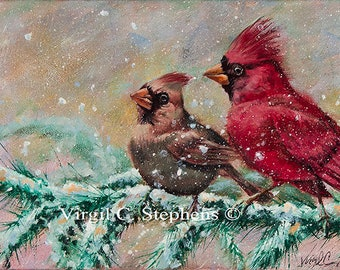 Cardinals, limited edition print of cardinals on  branch in the wintertime. Red birds, cardinals, bird artwork, midwestern winter scene