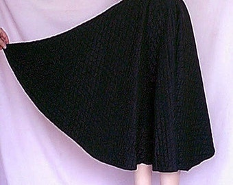 Vintage 1950s Black Quilted Satin Circle Skirt