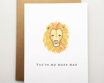 Mane Man - Father's Day card - lion's mane - dad - card - handmade - paper goods