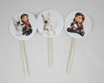 Bolt cupcake toppers, Round Double sided cupcake picks