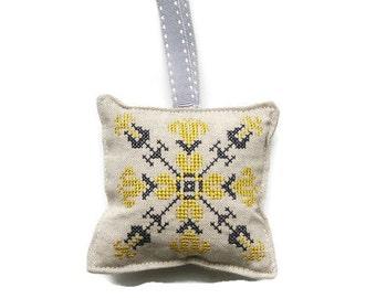 Lavender bag, hanging decoration, cross stitch embroidered, grey and yellow linen organic lavender bag, lavender drawer sachet.