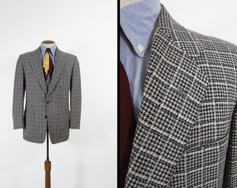 Vintage 50s Houndstooth Sport Coat Black and White Wool Jacket - Size 40