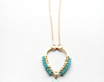 Boho Necklace, Seafoam Green Necklace, Bohemian Jewelry