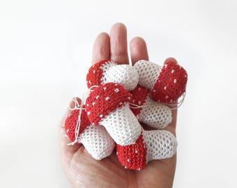 Handmade Christmas Ornaments Crocheted Toadstool for Holiday Season Christmas Tree