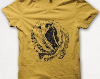 Kids Tshirt Growling Grizzly Bear Shirt Boys Graphic Tee Girls Shirt Screenprinted Childrens Clothing - Gold